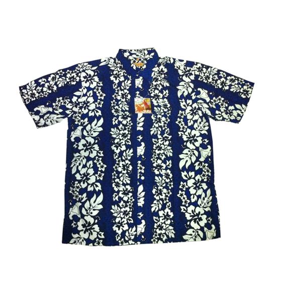 Havajská košile - modrá s bílými květy - Karneval Ptákoviny Praha ... c6fa8cfcb4