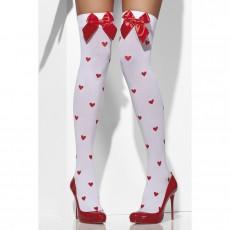 cddc1cf18a1 Sexy bílé punčochy s červenými srdíčky a mašlí